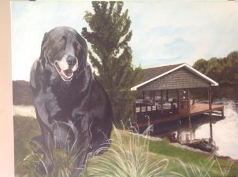 Dog at boat house